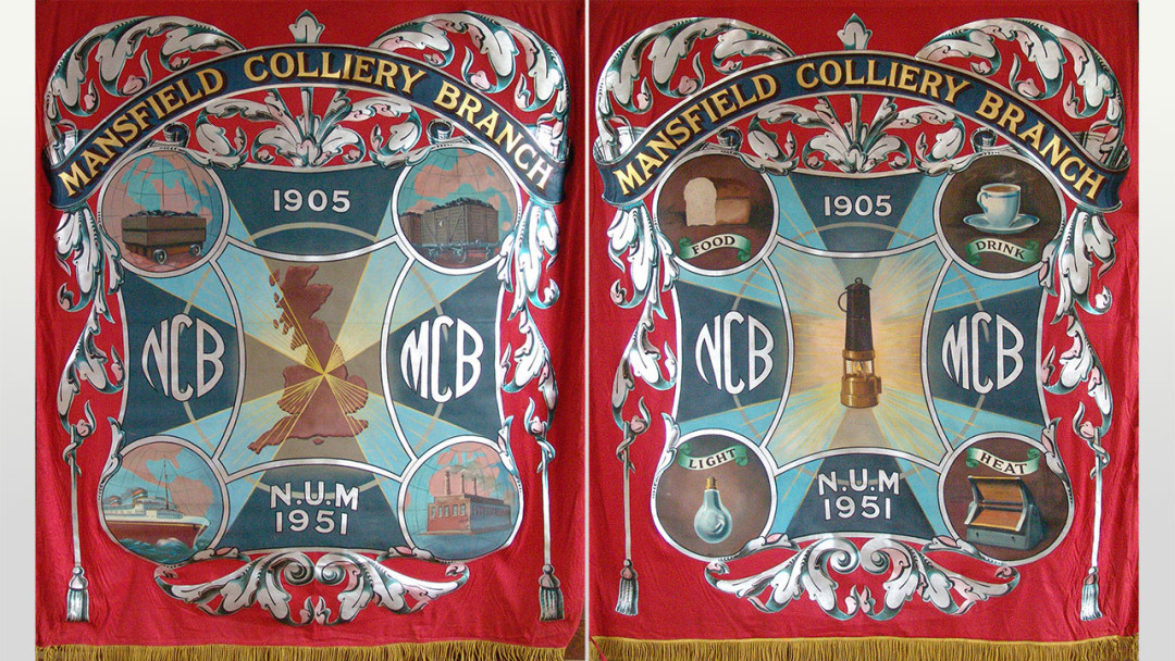 Recovered Mansfield (Crown Farm) Colliery Banner with 1951 Festival of Britain styling