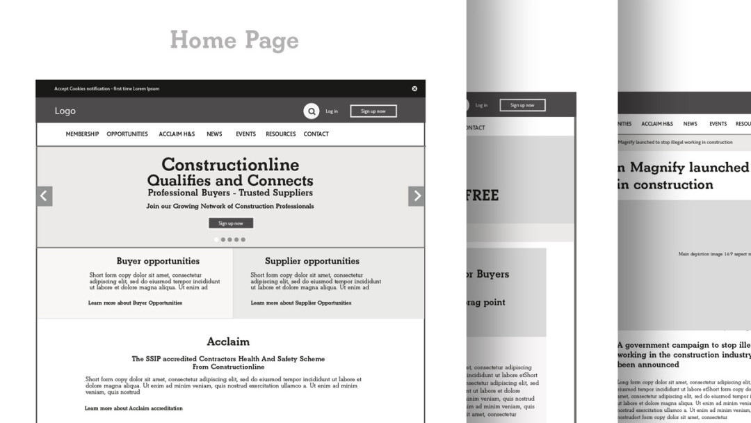 Lo-fi clickable wireframe designs