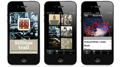 Sillitoe Trail iOS App Design for The Space On-demand digital arts platform, BBC, Arts Council England