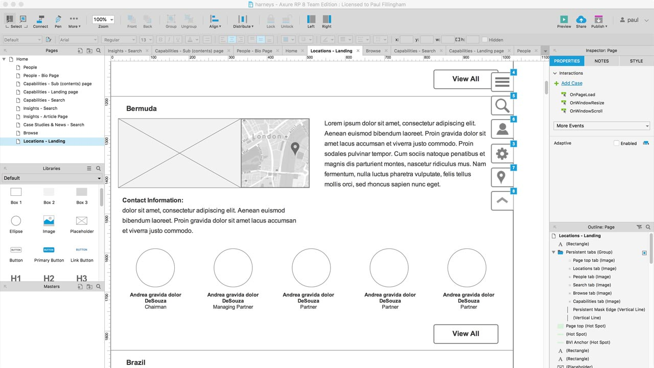 Axure screen capture showing jurisdictions page template